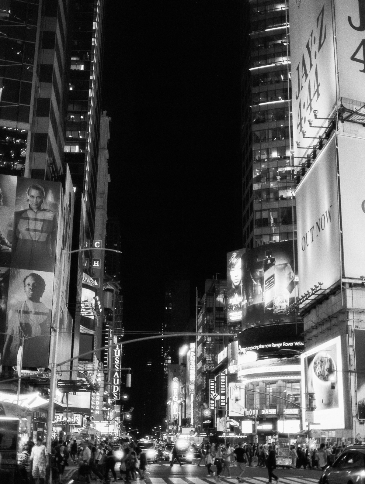 Times Square at night on black and white film, ilford delta 3200