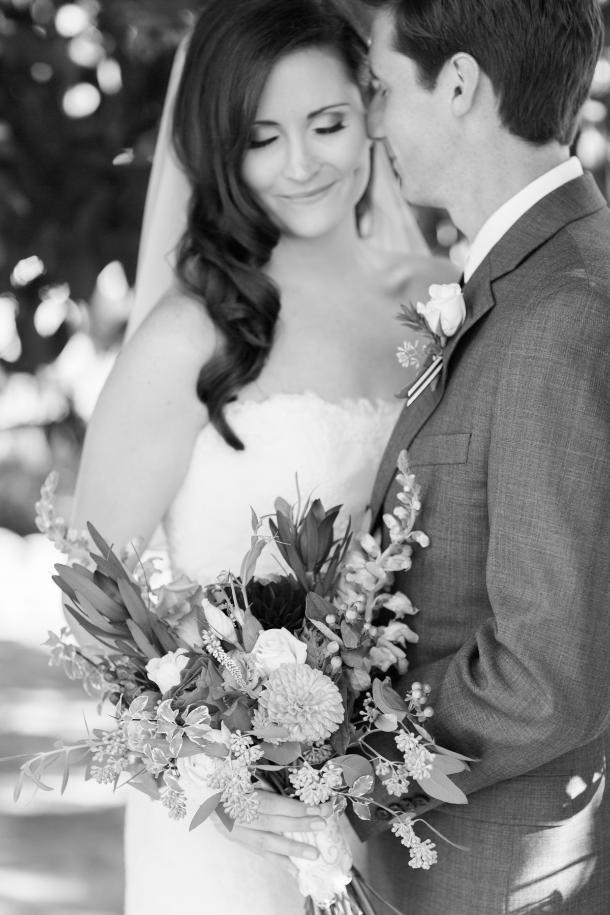 Classic black and white portrait of a bride and groom