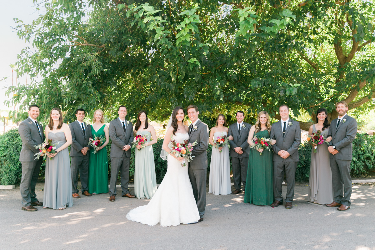 Wedding party in gray and green captured by Phoenix wedding photographers, Betsy & John