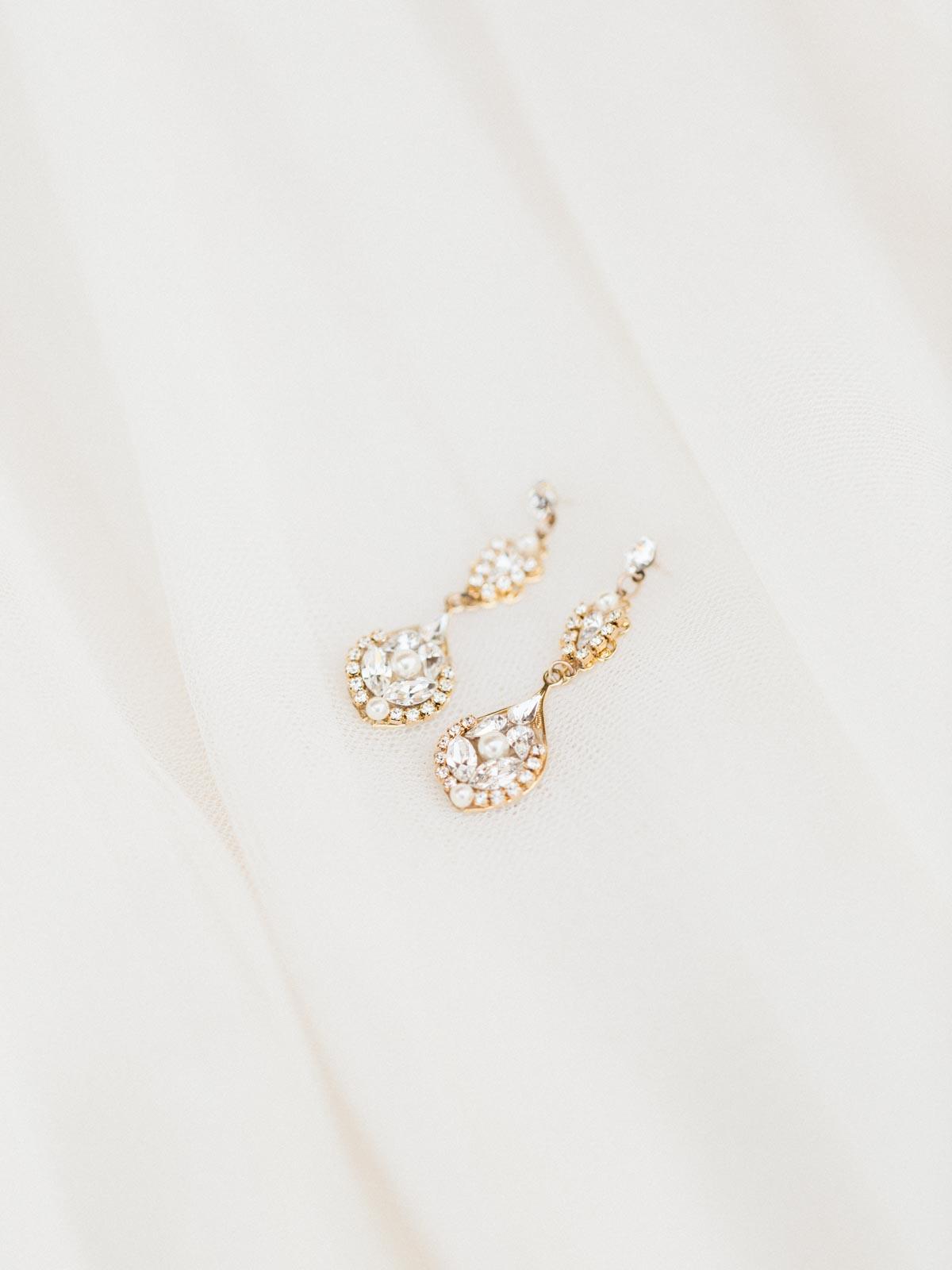 Beautiful wedding day earrings