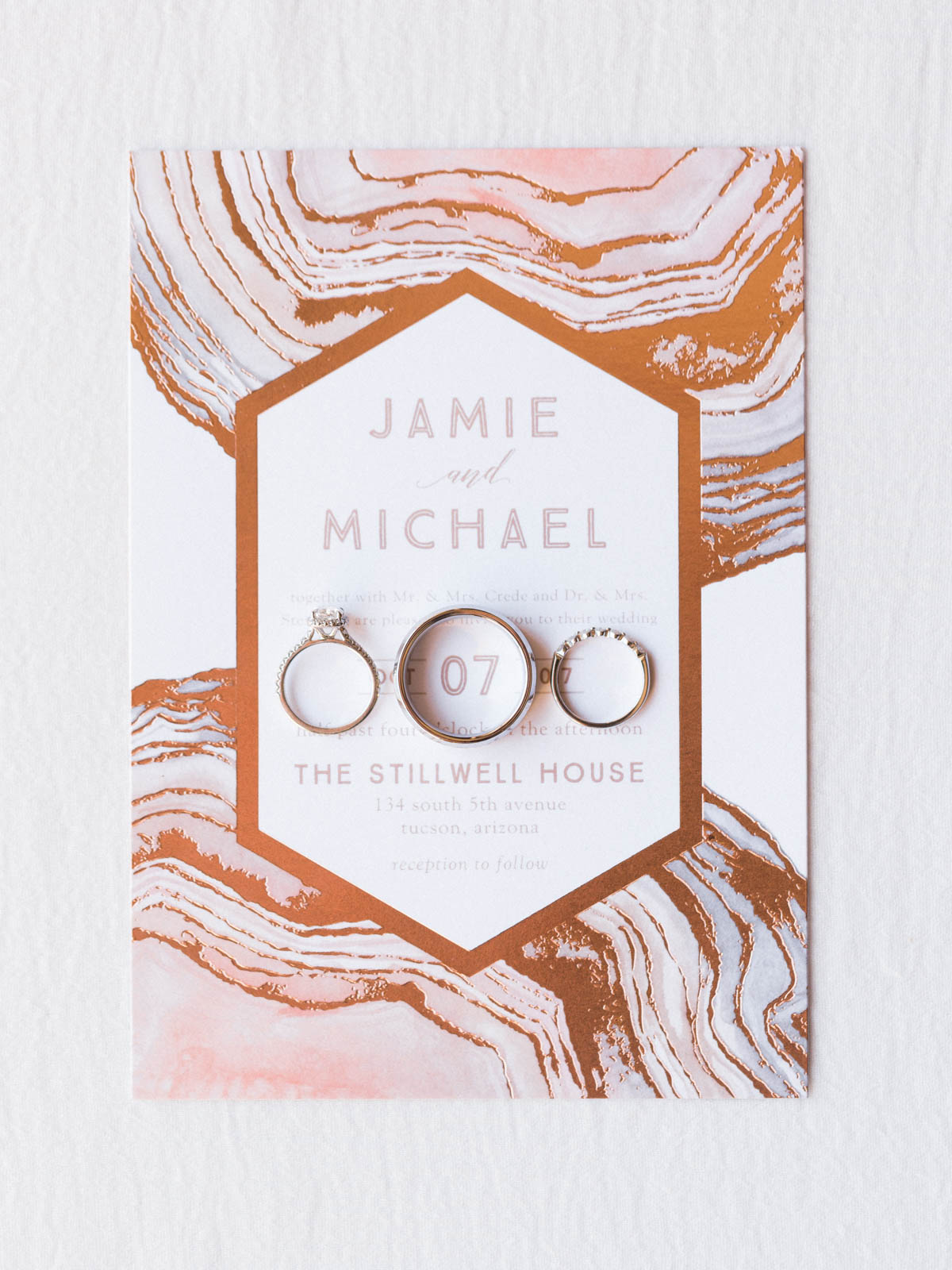 Ring shot on invitations by minted.com captured by Tucson Wedding Photographers Betsy & John