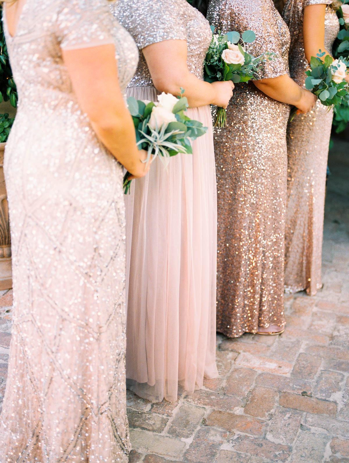 Blush bridesmaids bouquets Stillwell House wedding captured by Tucson Wedding Photographers Betsy & John