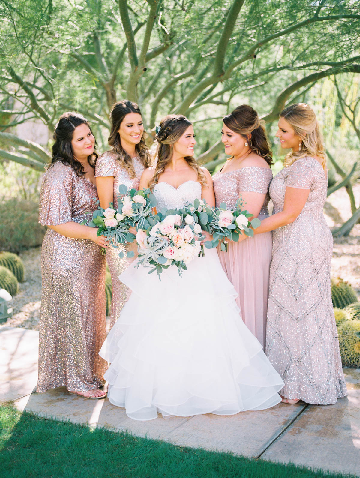 Sparkling blush bridesmaids captured by Tucson Wedding Photographers Betsy & John