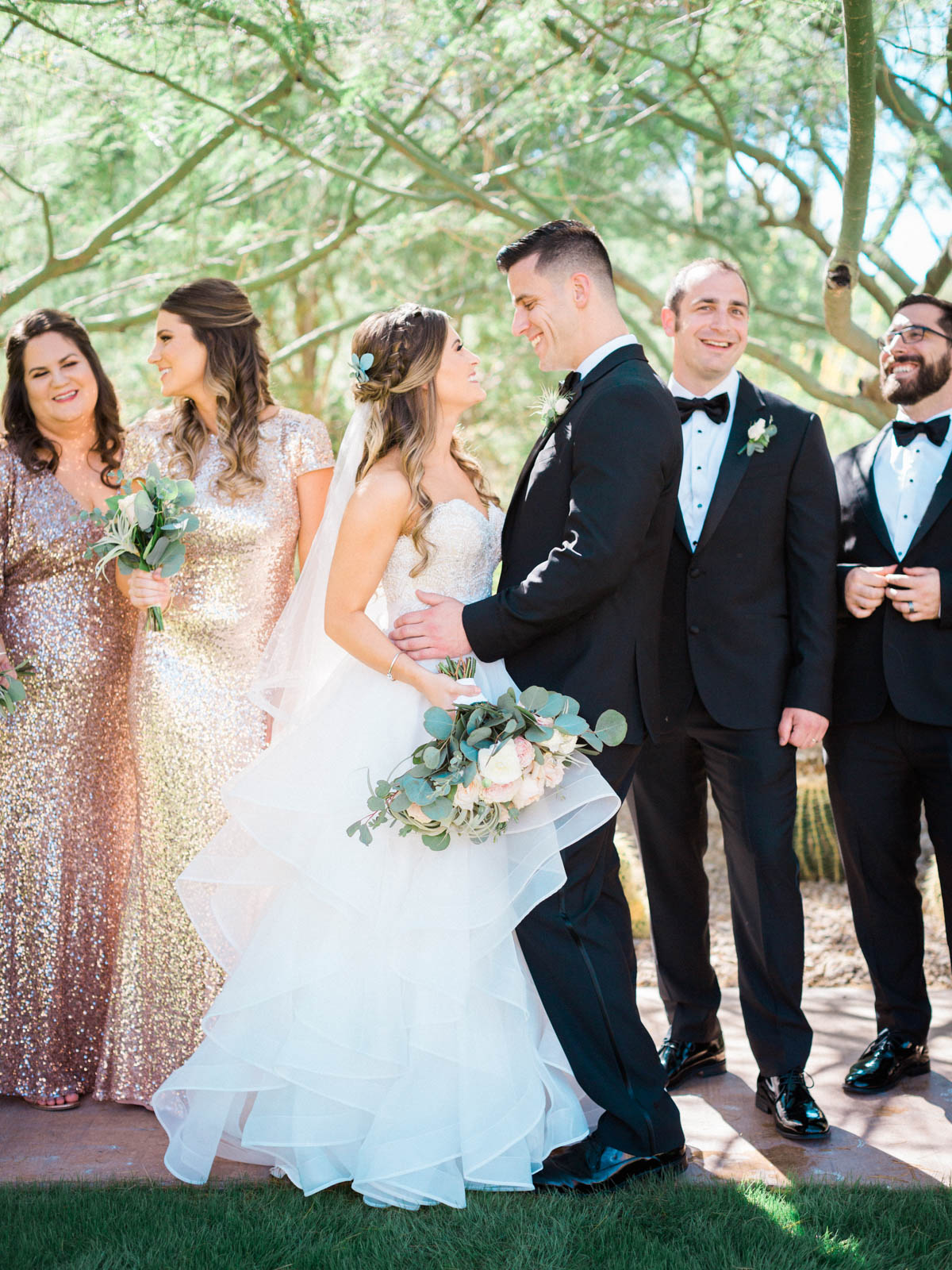 Jw marriott Starr Pass wedding party captured by Tucson Wedding Photographers Betsy & John