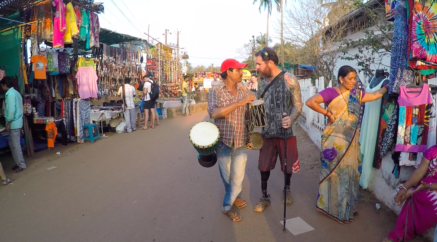 One of the locals trying to drum up business at the Anjuna Wednesday Flea Market. Drum, get it. #lamejoke