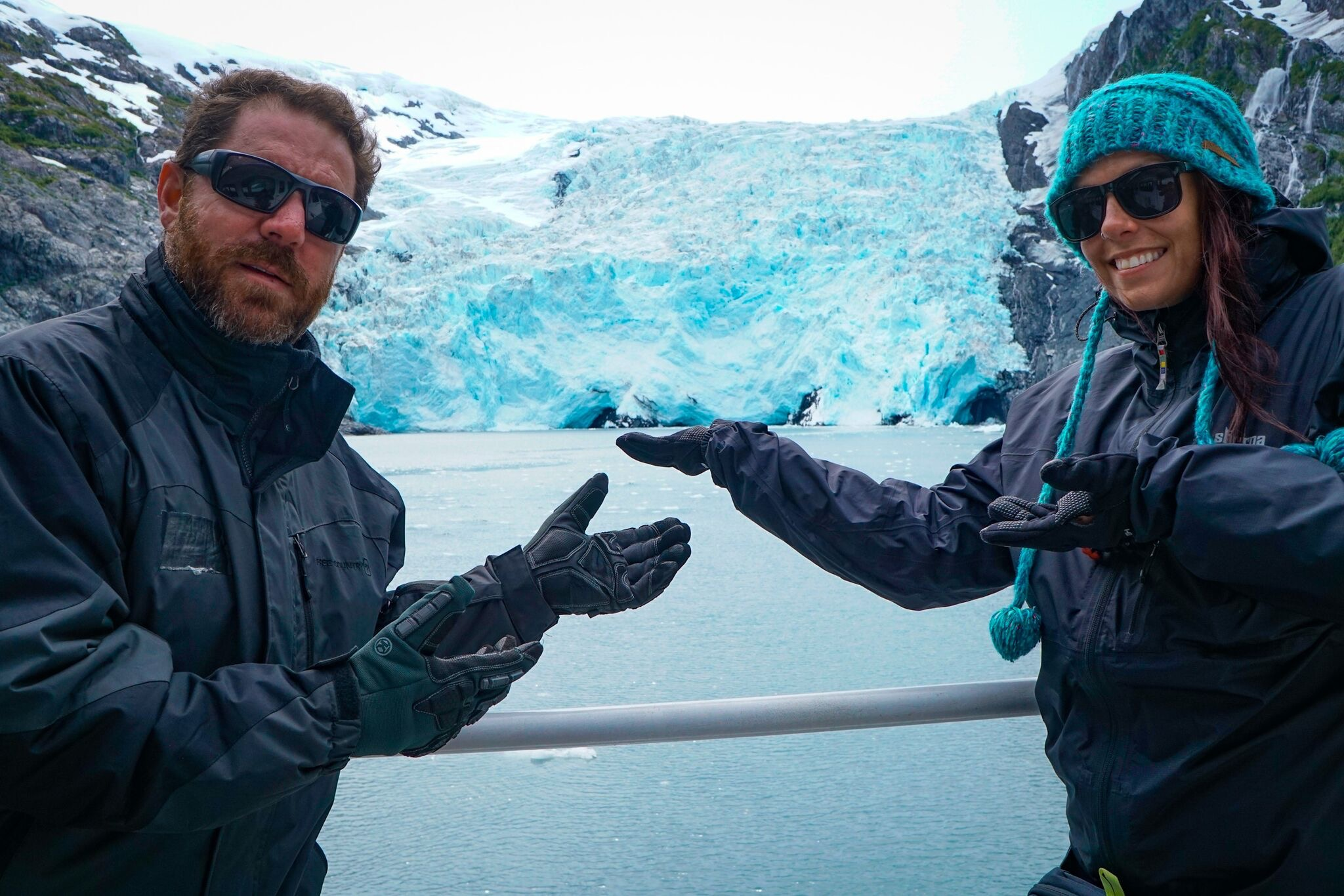 Nick and I doing our best Vanna White impression to showcase the glacier while waiting to see it calve into the water.