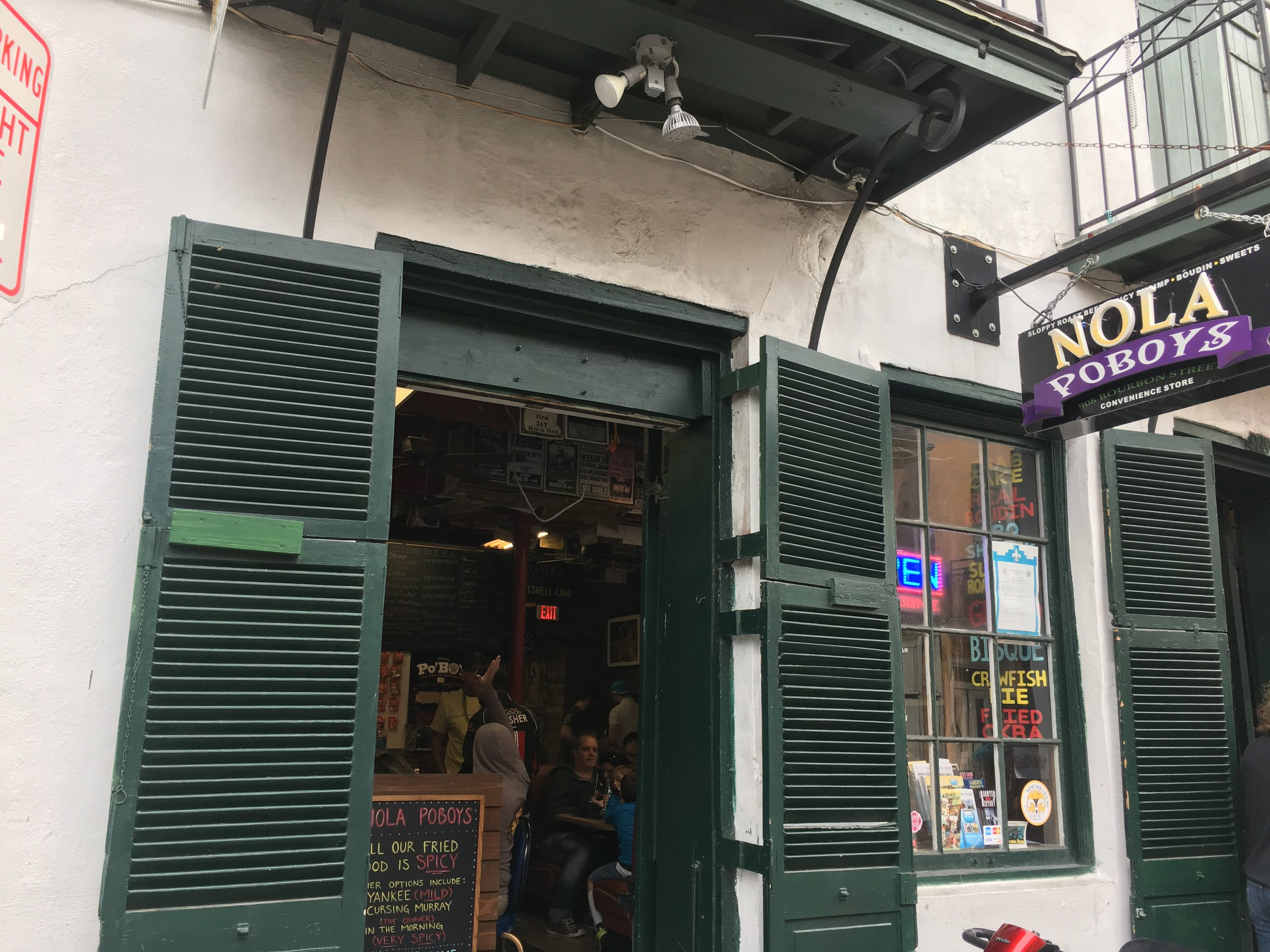 NOLA Po'Boys can be found right on Bourbon Street between Dumaine and Saint Phillip.