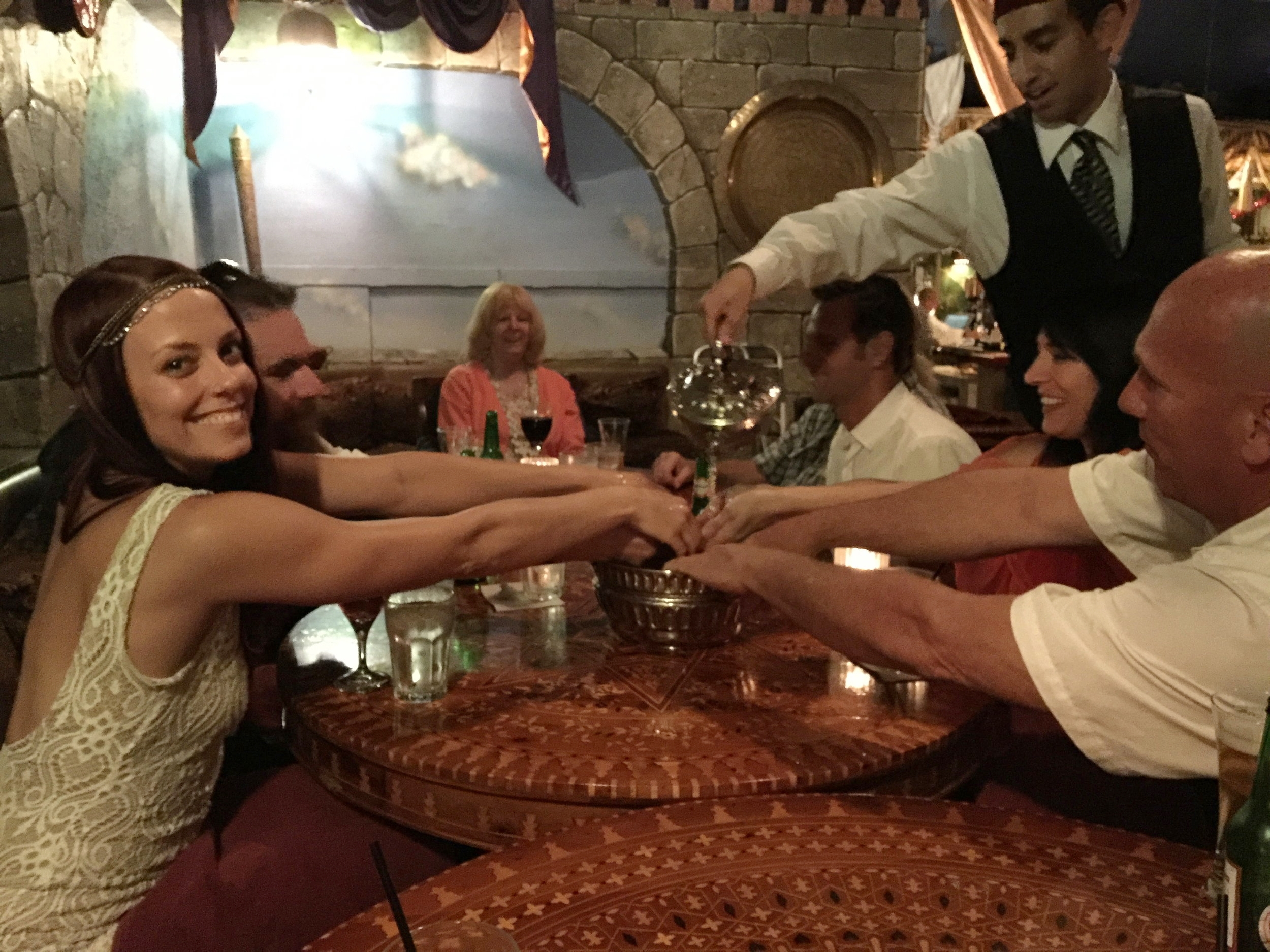 Washing our hands before the Moroccan feast.