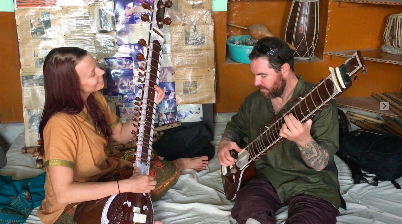 Learning to play the sitar together in India. #honeymoongoals