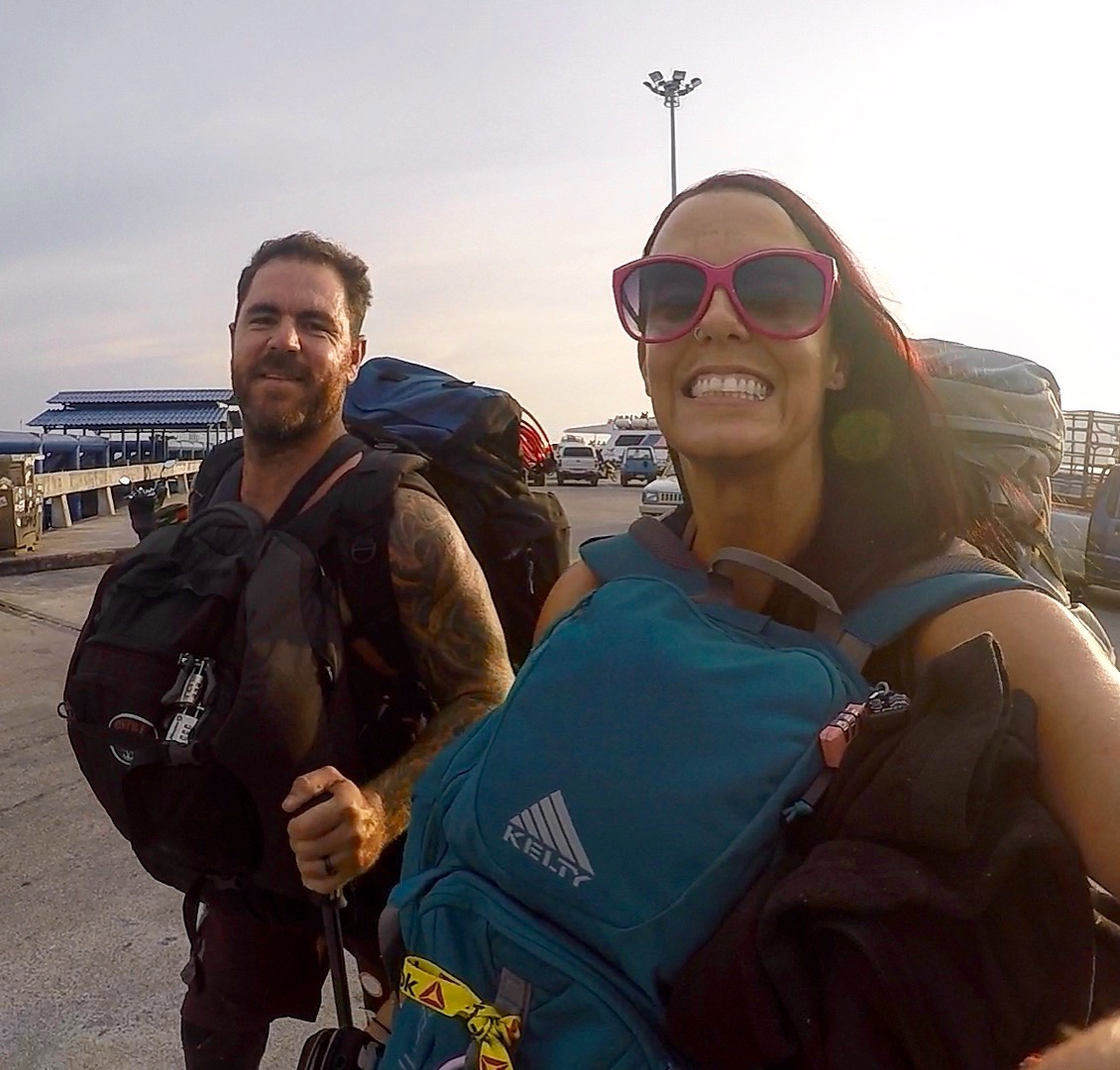 Cheesin for the camera because we're able to physically carry all that we need for a 4 month trip.