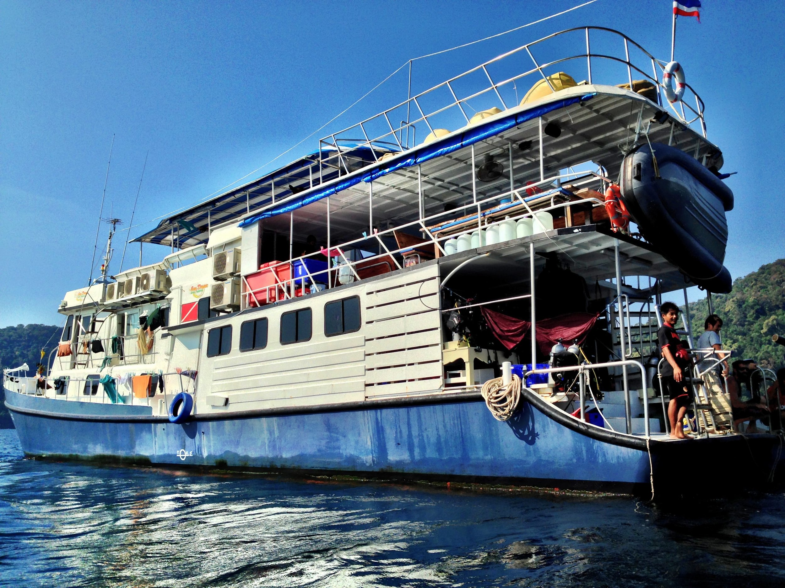 The Best Scuba Diving in Thailand. Sea Dragon Dive Center M/V Andaman SCUBA Live aboard boat. Dive Sites in Thailand. FenerAdventures.com Budget Travel Tips
