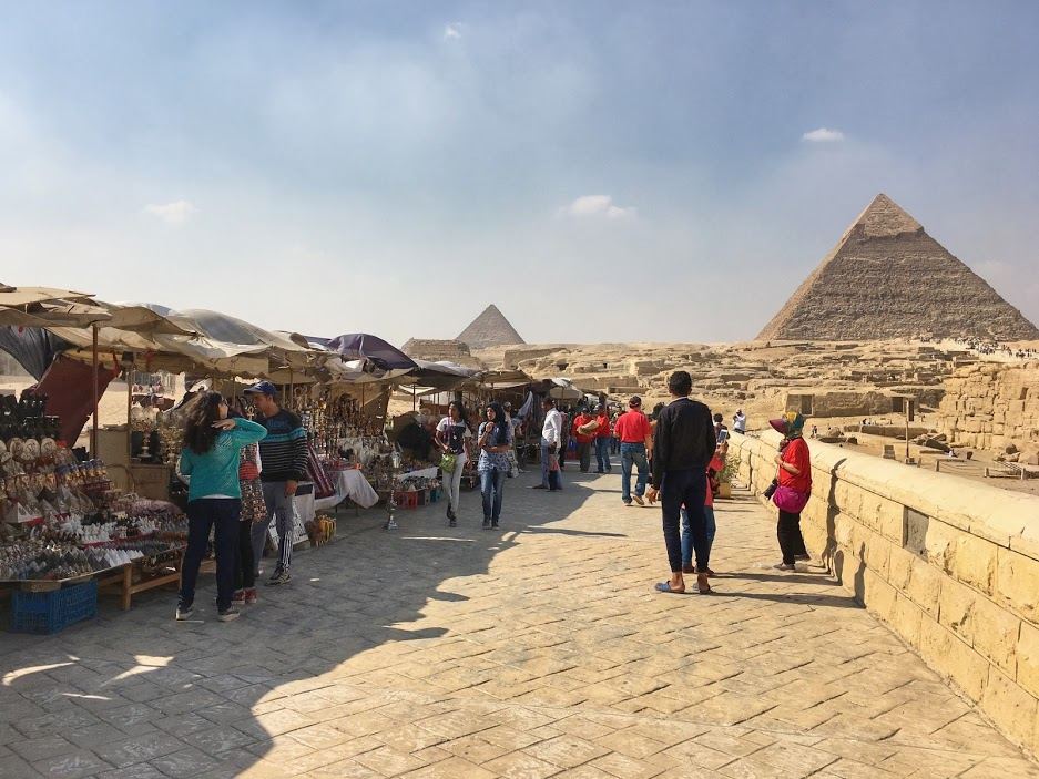 Walking path to the Sphynx lined with vendors.
