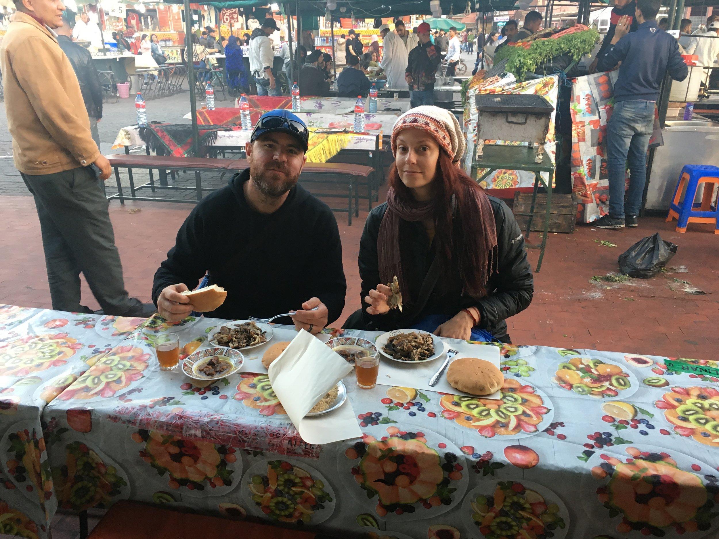Street food Marrakech Morocco Medina Jemaa el-fnaa