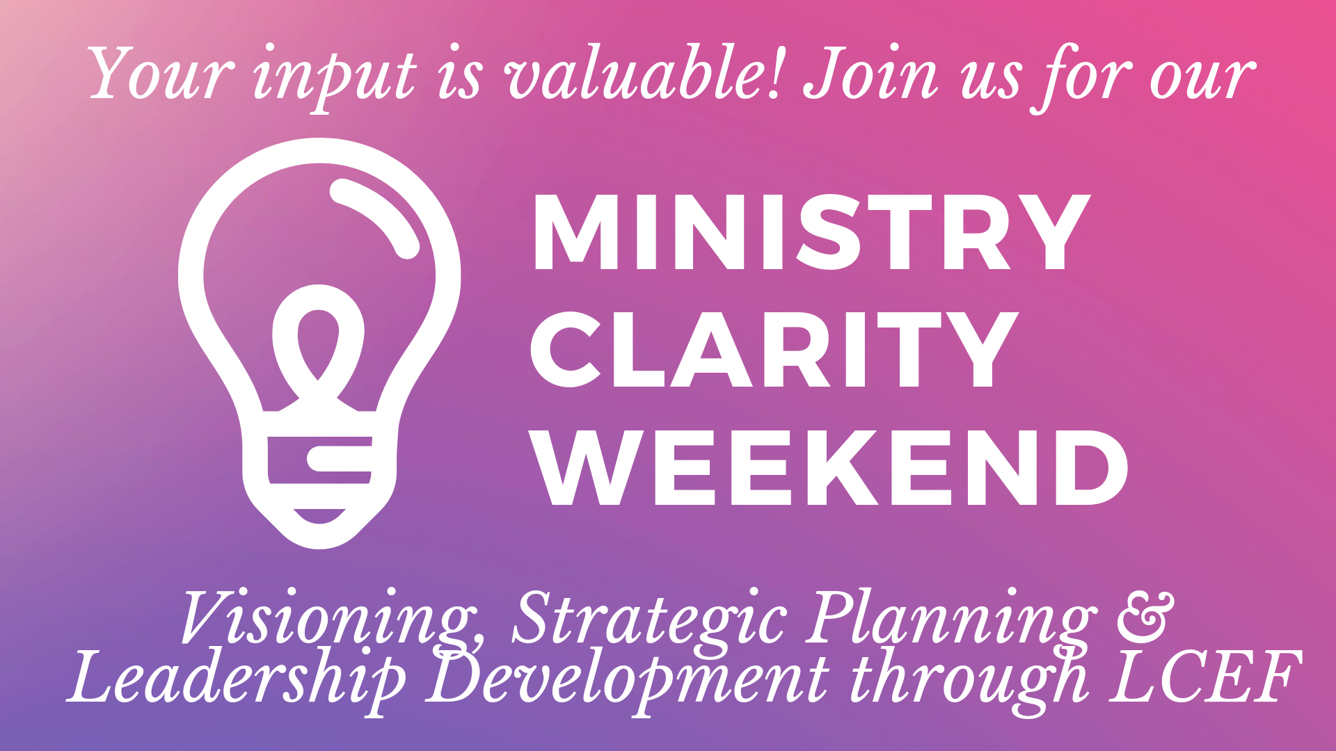 """WHAT IS MINISTRY CLARITY?  Ministry Clarity is an opportunity for us to examine and refocus our ministries at Bethany, guided by a team from the Lutheran Church Extension Fund. We know """"the purpose"""" of the Lord's Church on earth, but we'll be considering how that broader mission of the Church might be better implemented at Bethany? That is, how might our current ministries, activities, and events be altered to better align with our Lord's mission? The end goal is for the congregation's leadership to have clarity on our path and purpose as decisions are made, as well as for the congregation to have renewed zeal and support for our church's many ministry opportunities.    WHEN ARE THE SESSIONS? WHAT WILL THE SCHEDULE LOOK LIKE?  Your input is important! Please attend one of our Ministry Clarity Weekend brainstorming sessions (Sun. Nov. 3 @ 10:15 am or Mon. Nov. 4 @ 6:30 pm). Click here to register:  https://bethanylcs.org/ministry-clarity-weekend.  Childcare and food will be provided for both sessions!    ·  Session 1:  Sunday, Nov. 3. We'll have  ONE  Divine Service at 9:00 am, followed by brief Fellowship with pastries at 10:15 in the gym, and then we'll go straight into our one-hour brainstorming session. There WILL be Sunday School at 10:30, and the nursery will be staffed. (We'll be done by 11:30AM!)  ·  Session 2 : Monday Nov. 4. A light dinner for the whole family will be provided in the gym starting at 6:30 pm until 7 pm. From there we'll begin our one-hour brainstorming session in the gym. (We'll be done by 8PM!)    WHO SHOULD ATTEND?  We're asking input from any Bethany Church and/or School Family ages Jr. High and older. Childcare will be available for anyone ages 5th grade and younger."""