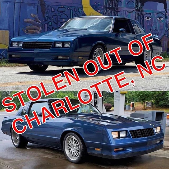 Hey everyone, #PowerTour is on this weekend, and lots of people are out watching. Please be on the look out for our friend @garrettisthename 's 84 Monte, license plate RNL8293 it was stolen last night in #Charlotte, #NorthCarolina. He's put a lot of hard work into this thing, share the word and let's get this back to him!  #mobsteel #STOLEN #HotRodPowerTour #hotrodpowertour2019 #LongLiveDetroit