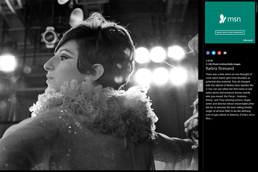 Slideshow for MSN Entertainment on 'Music Divas' that I sourced imagery for from various freelance photographers and stock sources.