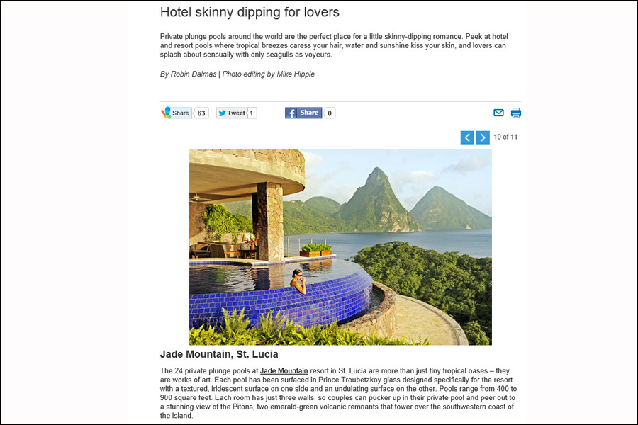 Slideshow for MSN Travel on 'Hotel Skinny Dipping for Lovers' that required a lot of outreach and research from PR sources.