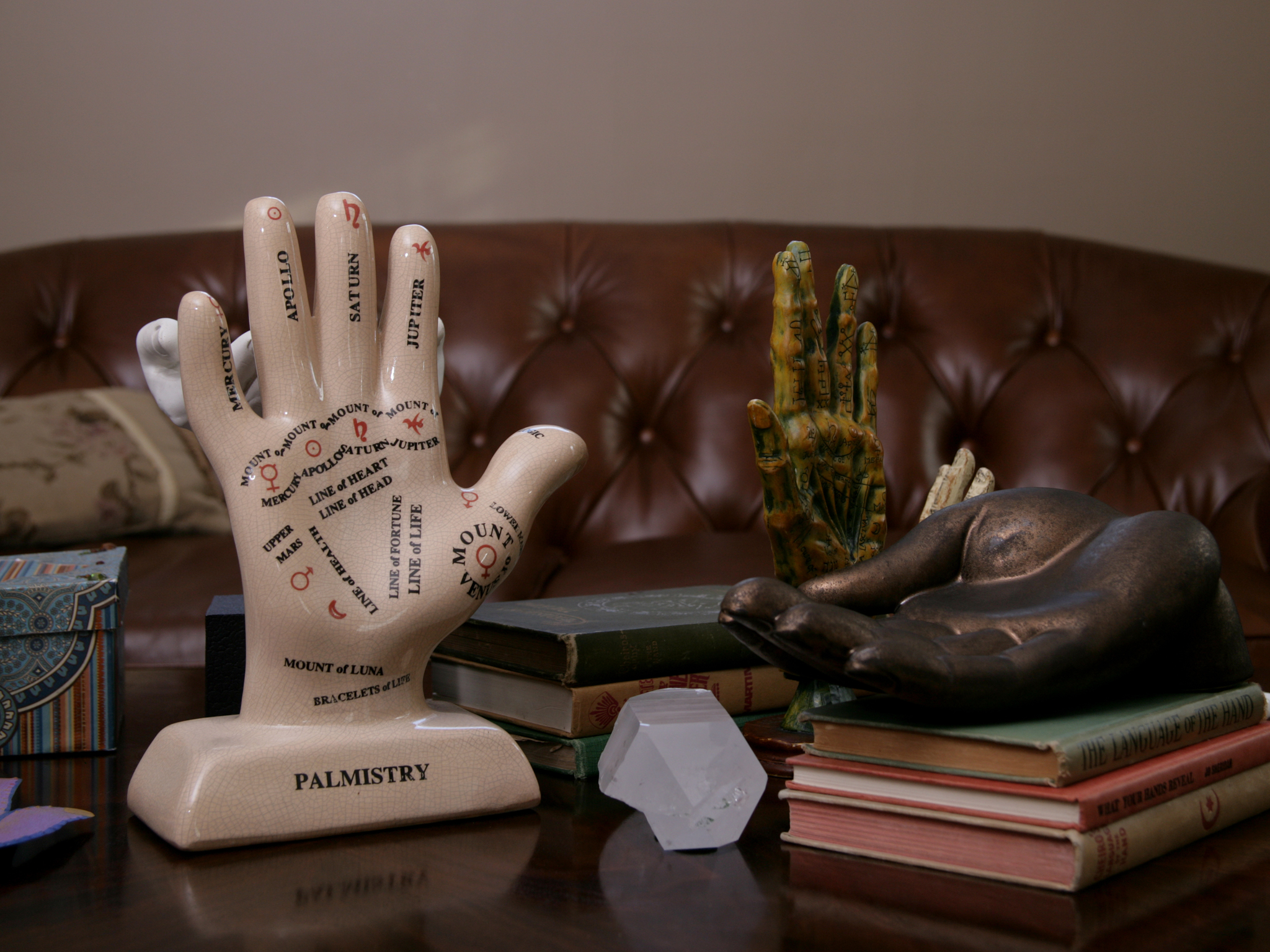 At palm reader Jim Barker's home; Seattle, WA