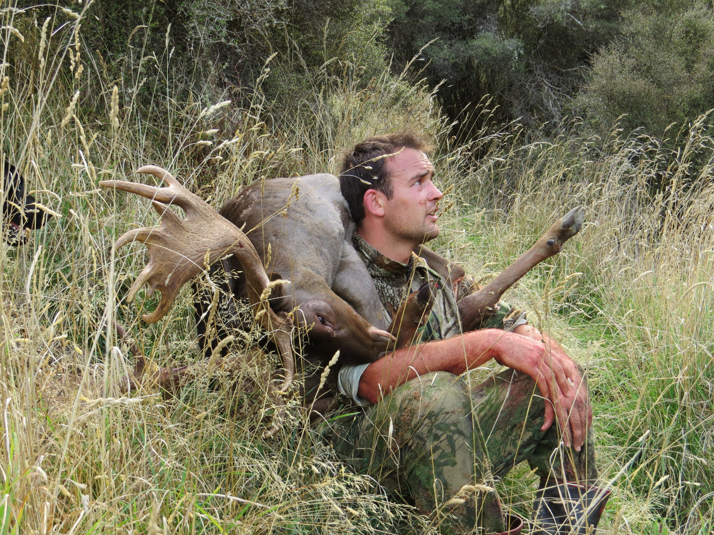 Richie takes a rest while attempting to carry out his entire fallow buck - photo Ryan Carr