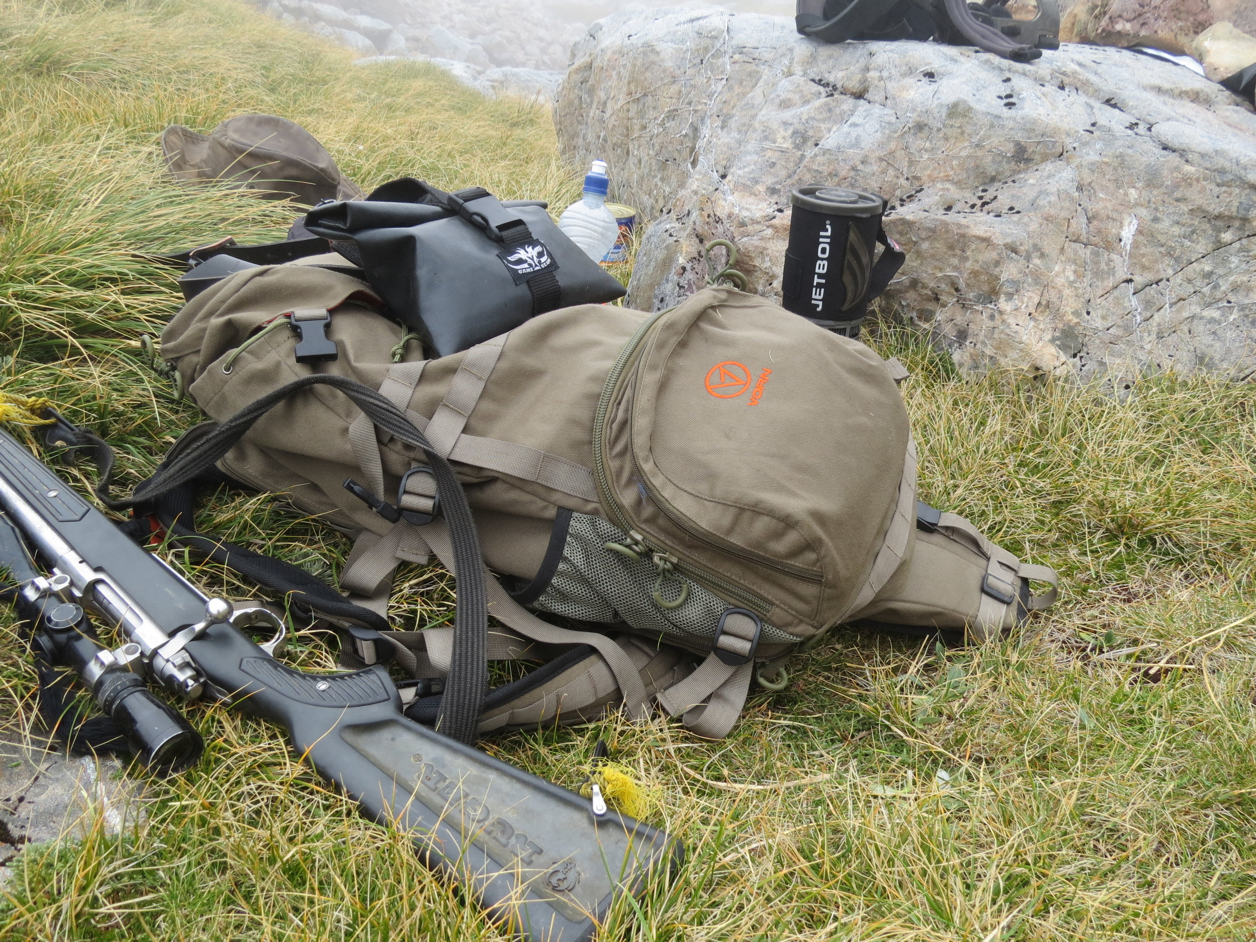 A pack with built in rifle scabbard makes life easier, plus a weather proof camera bag on your waist belt for quick access to your photo opportunities.