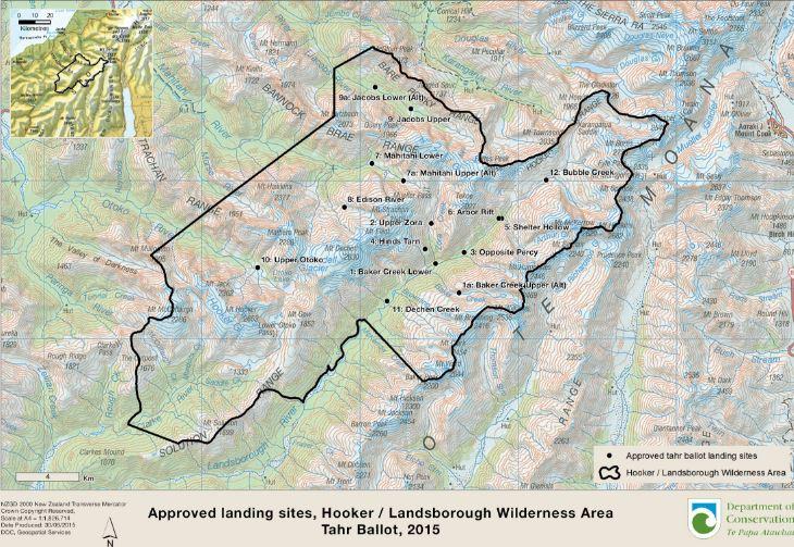 hooker and landsborough landing site map