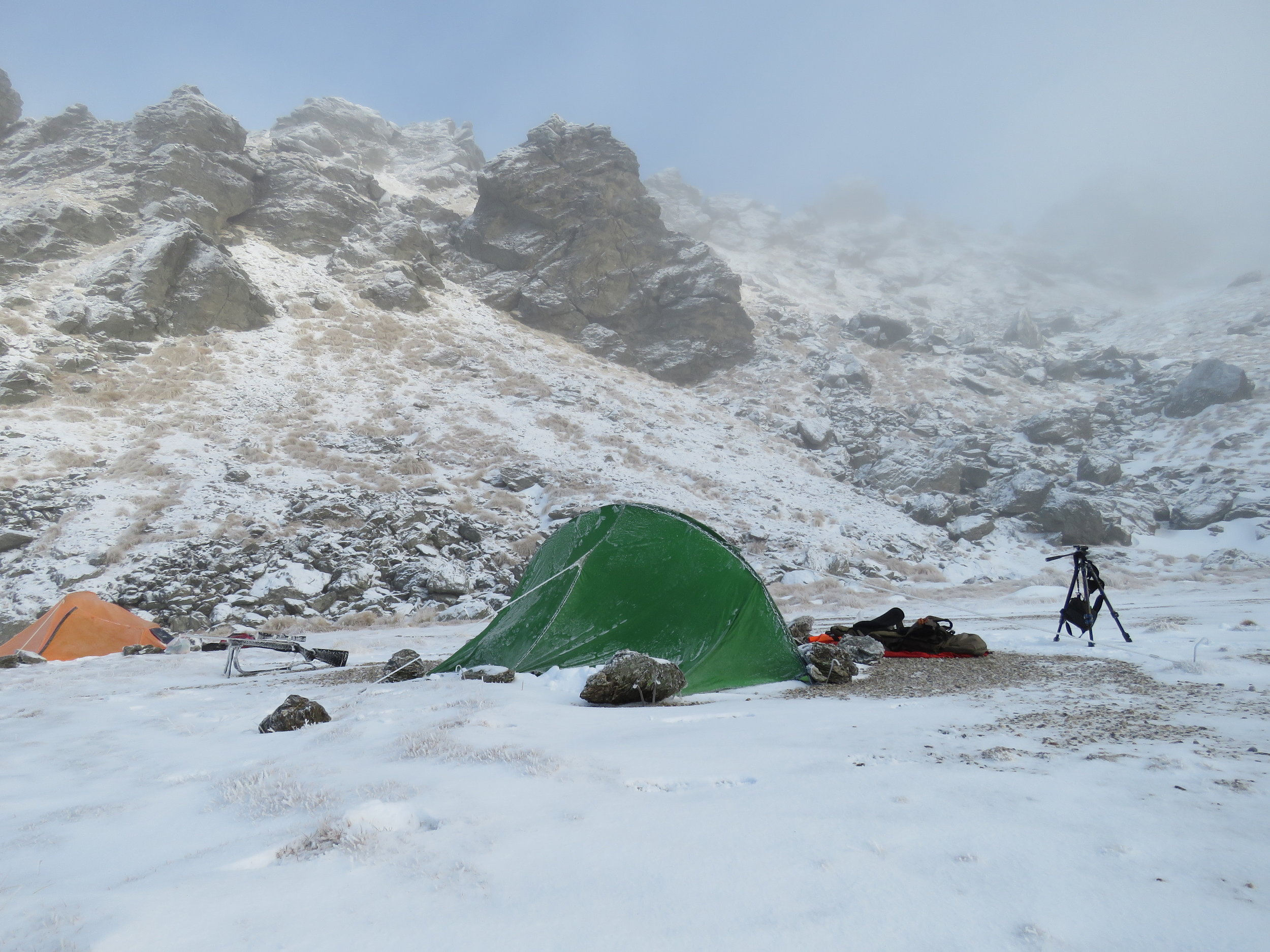 frozen camp in the mountains