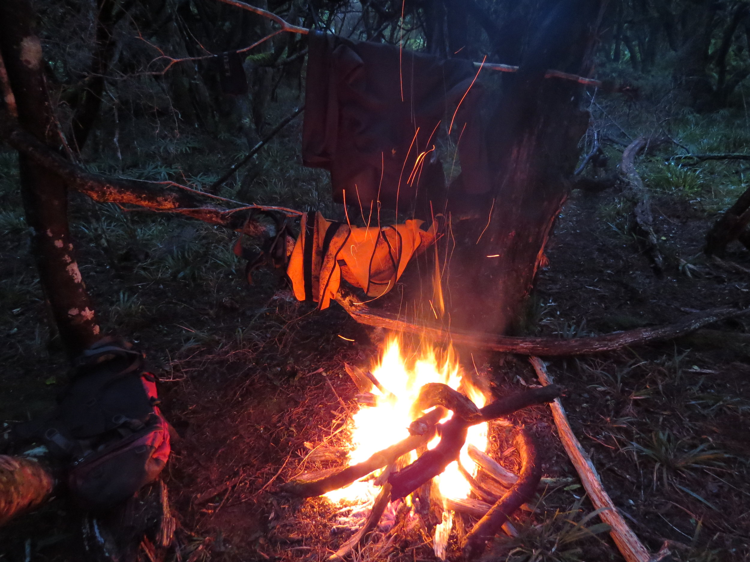 Drying gear next to a camp fire each evening was crucial for staying out for multiple days on Stewart Island, being dry and comfortable at the start of each morning is better than the alternative!
