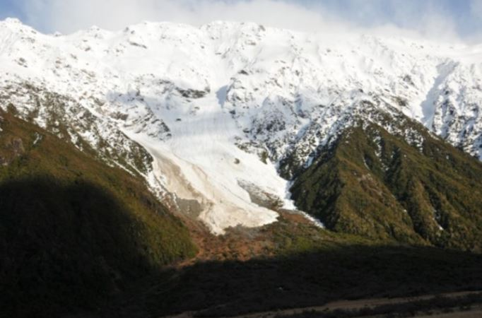 Avalanches can run well below the snowline as this photo from Trev Streat shows.