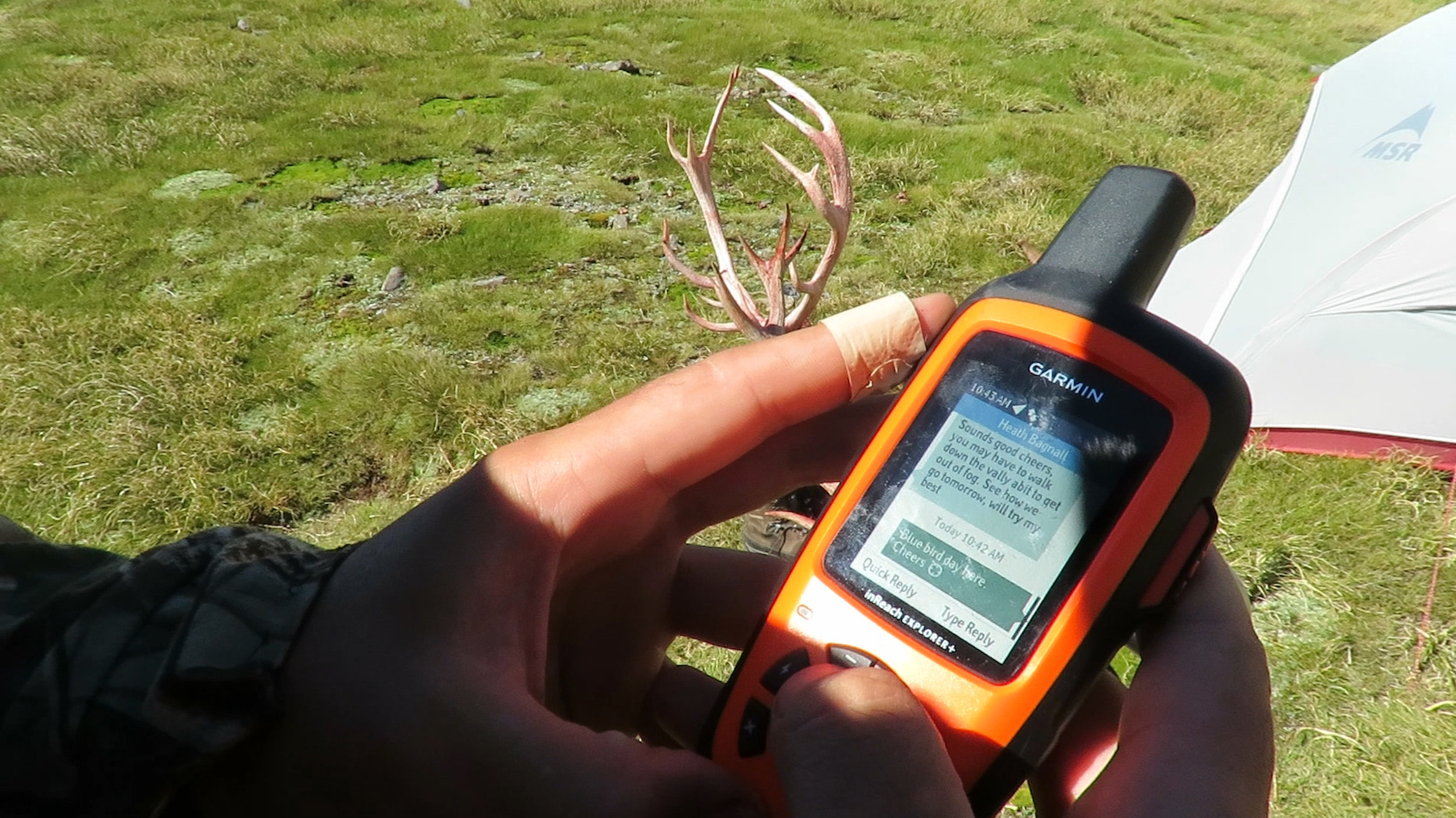 The  Garmin InReach  allowed us to text the heli-pilot for an early pickup at a random location