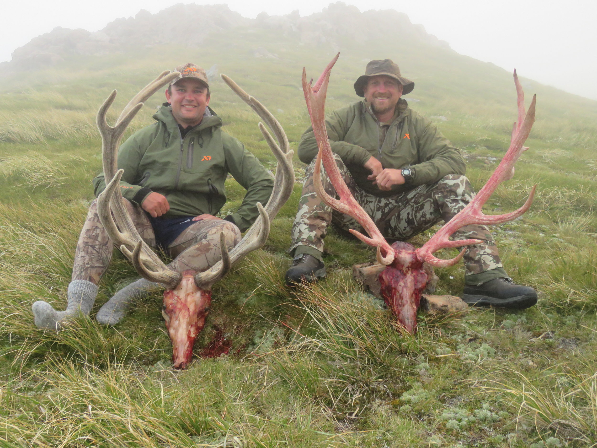 The boys with their two stags just as the fog came rolling back in.