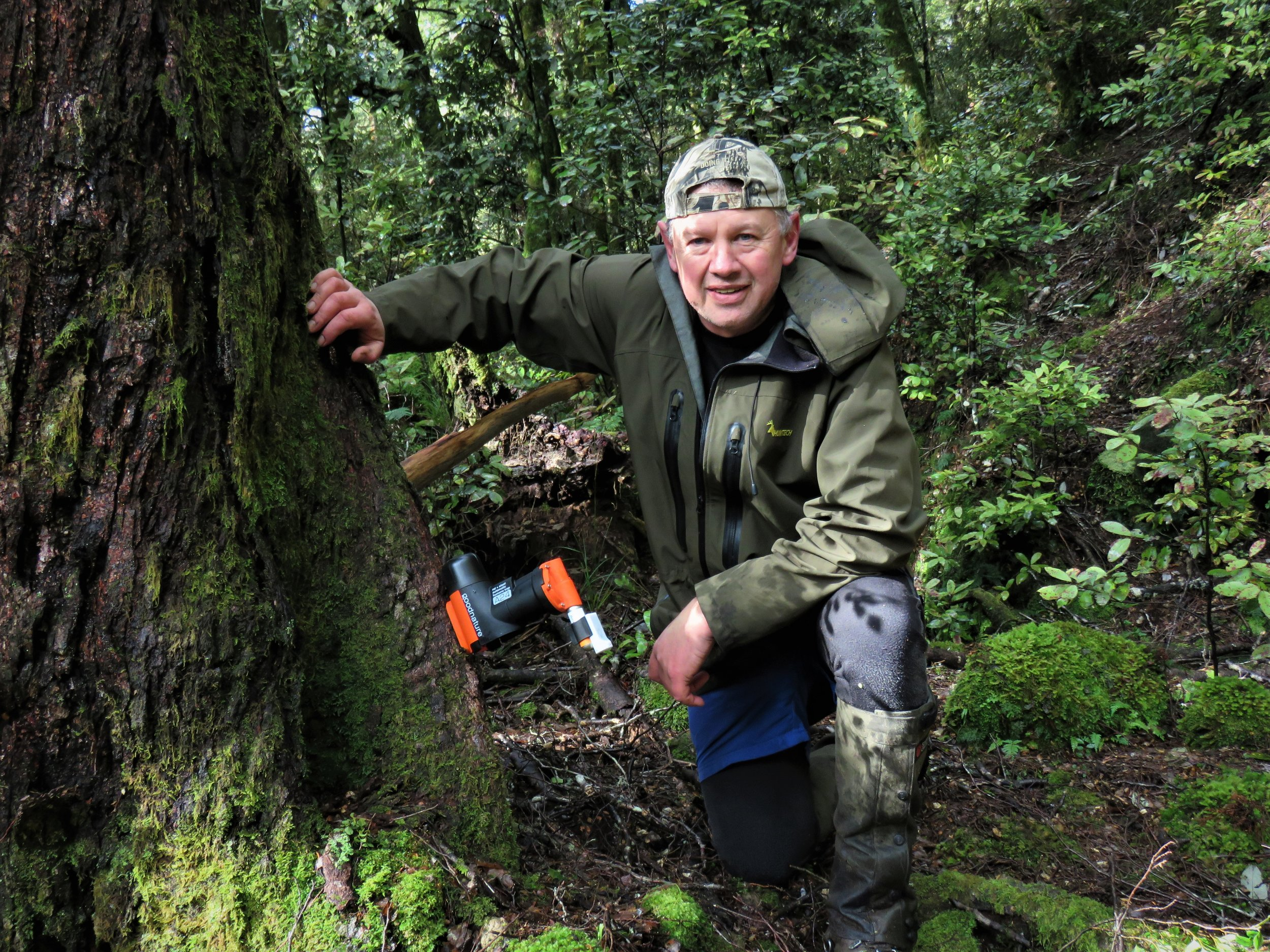 Marty Noakes on the job setting a goodnature trap - image supplied