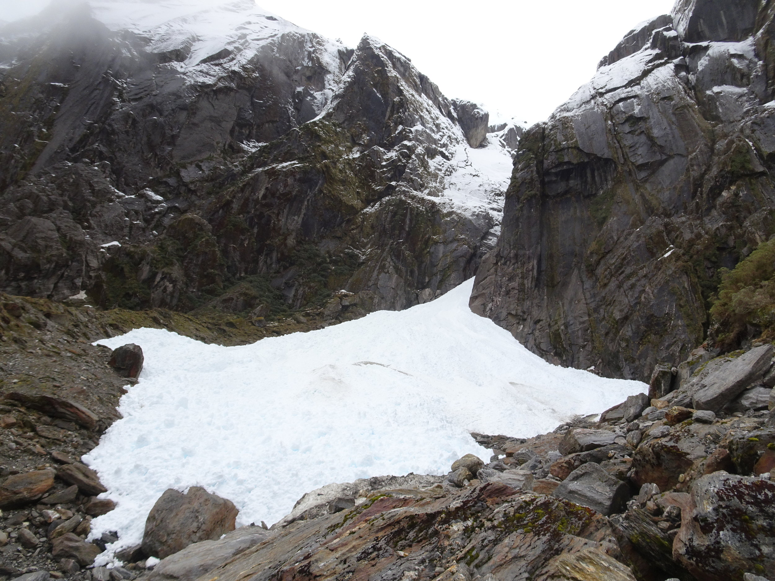 Well below snowline and very recent, this debris might be 20meters deep.