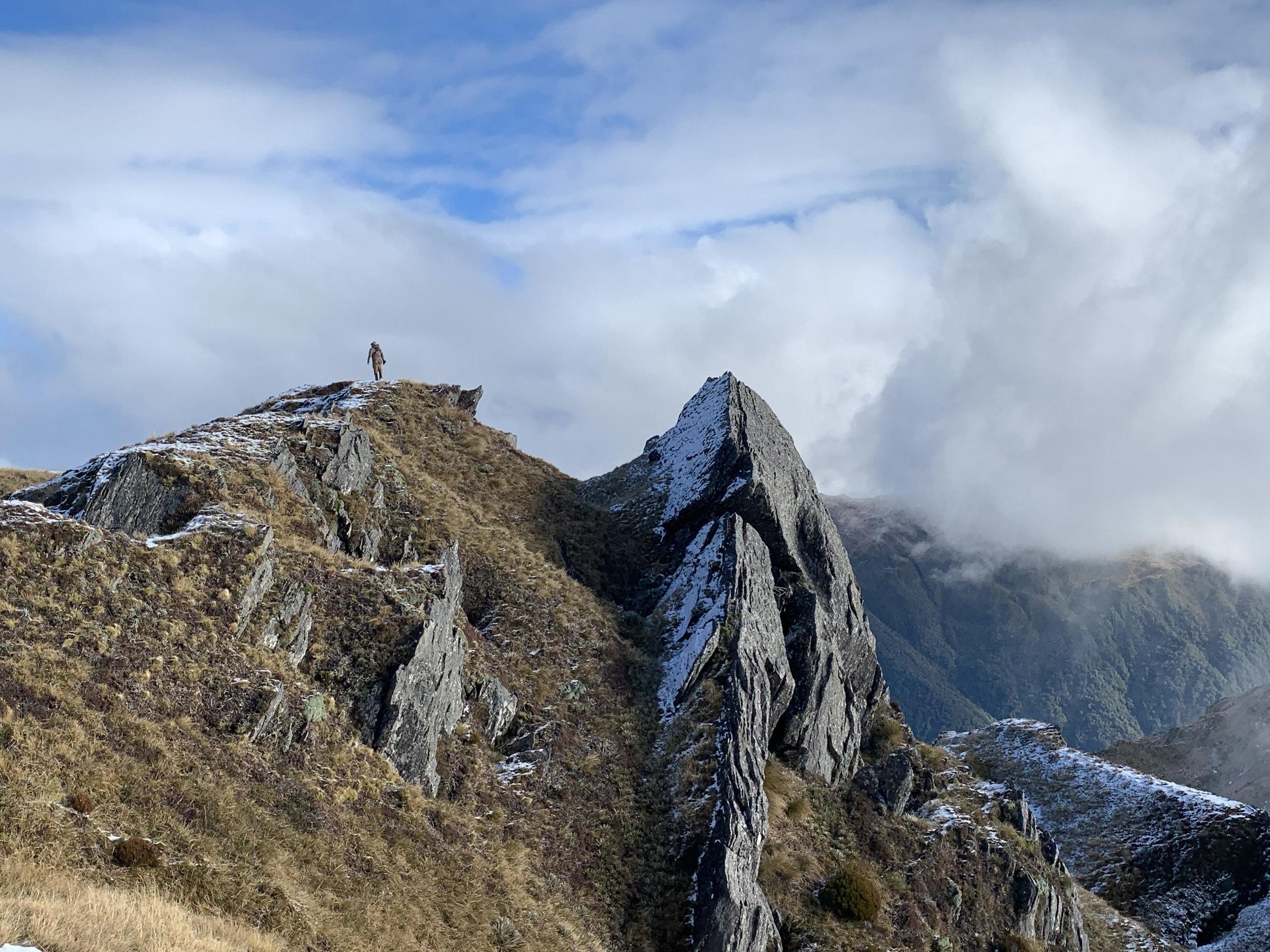 hunter standing on a ridge first lite
