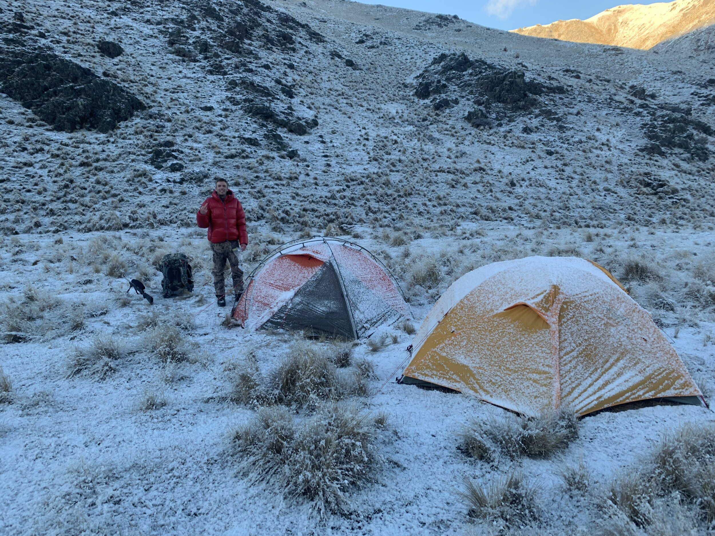 frosty camnp in the new zealand mountains