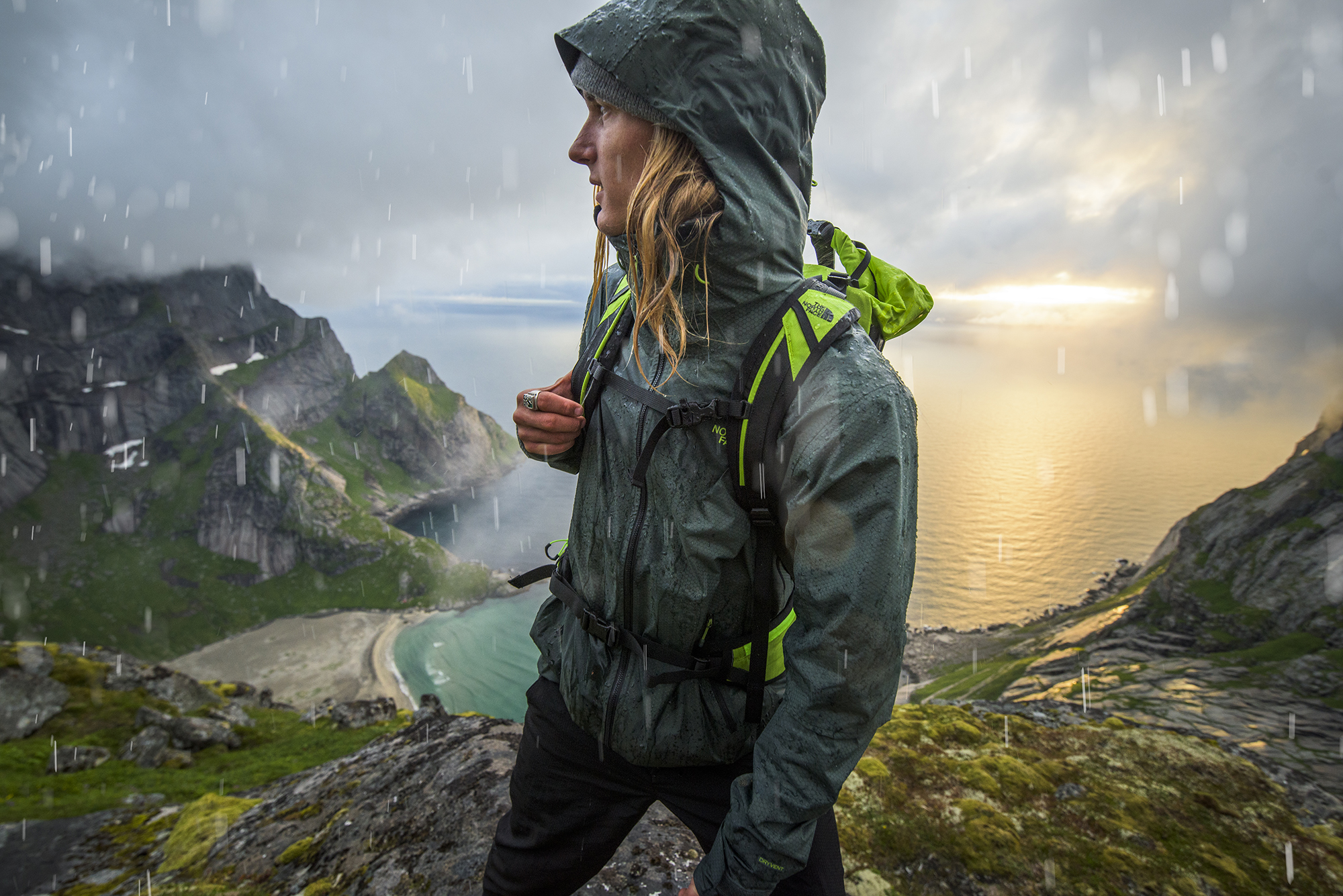 Johnny Collinson. The North Face Spring 2016 Rainwear. Lofoten, Norway. Photography by Tim Kemple.