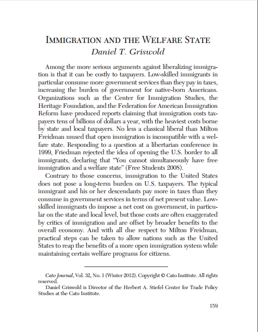 Immigration and The Welfare State