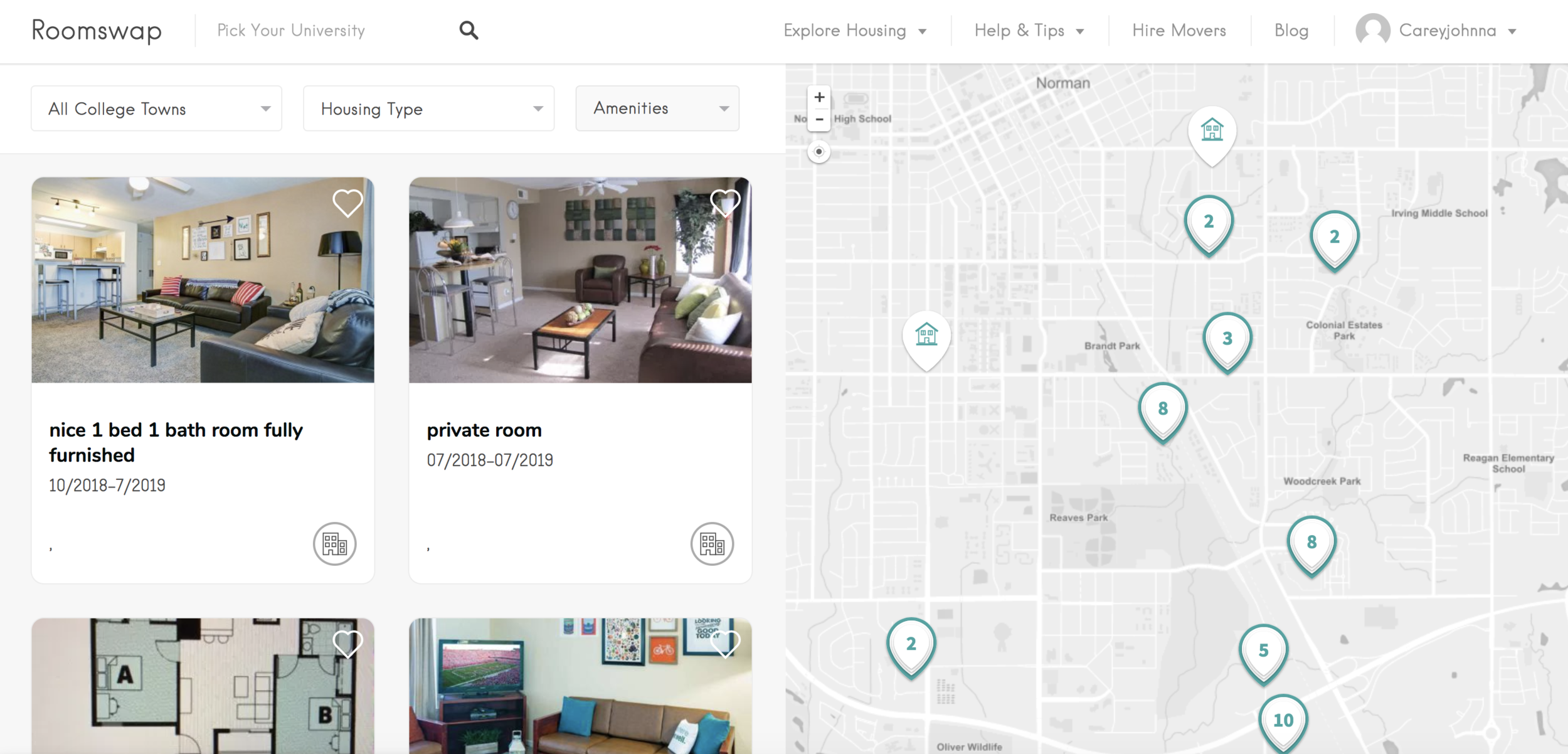 Roomswap housing search map @ roomswap.co