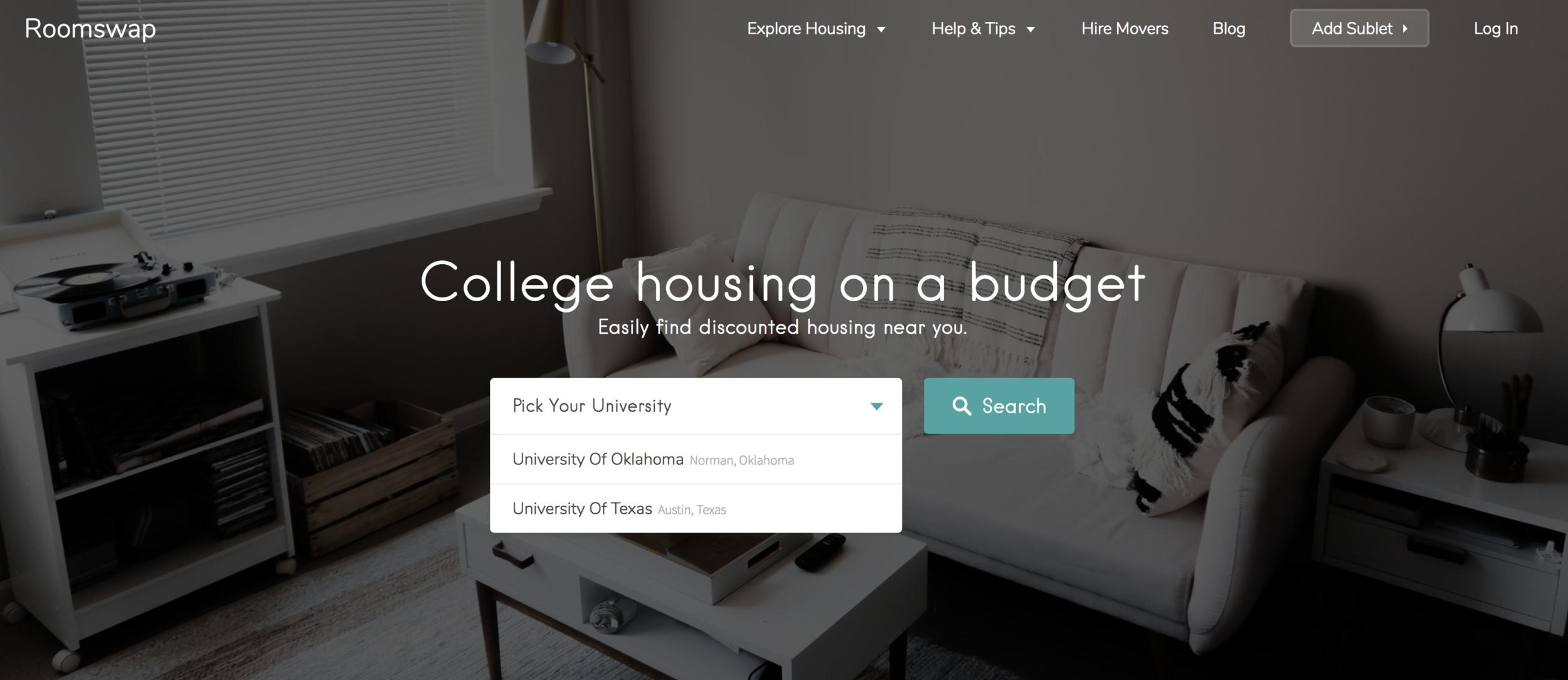 Roomswap homepage @ roomswap.co