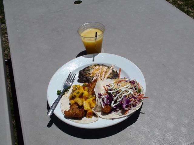 Fish tacos at the Mobil