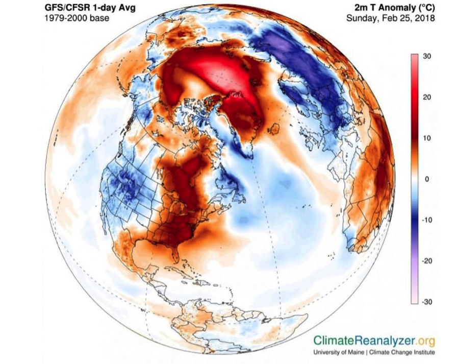 Image from  https://freepresskashmir.com/2018/02/27/extremely-warm-north-pole-as-temperatures-soar-30-degrees-above-normal/ .