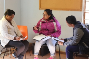 Students discussing climate change
