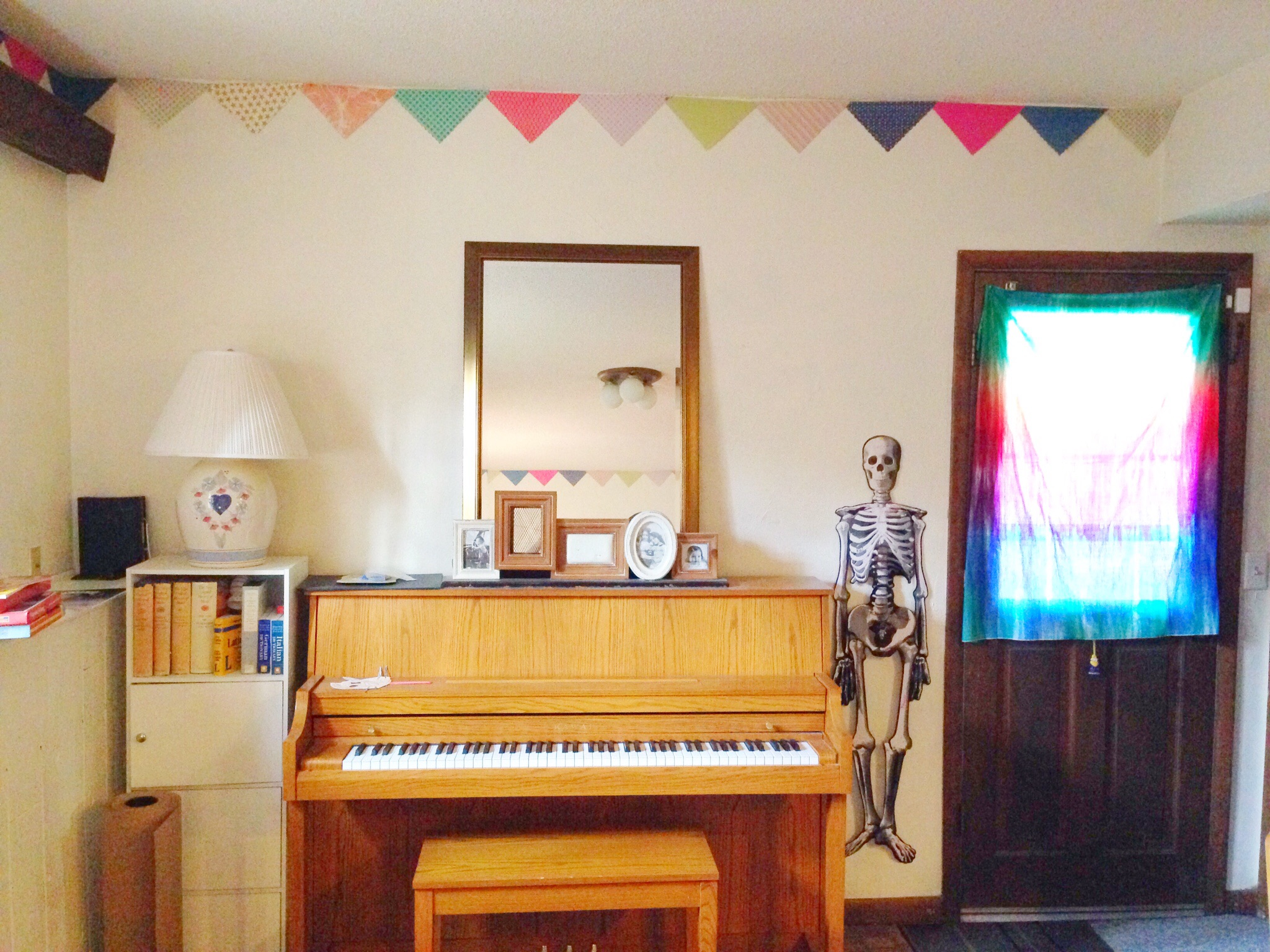 Create bunting for a border. This is our playroom/schoolroom/teaching studio.