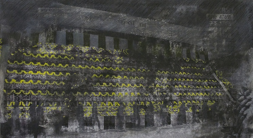 """Dimmed Yellows  (2015), Screen print, pencil, and highlighter on paper, 22"""" x 30""""(55.88 x 76.2 cm), Private collection"""