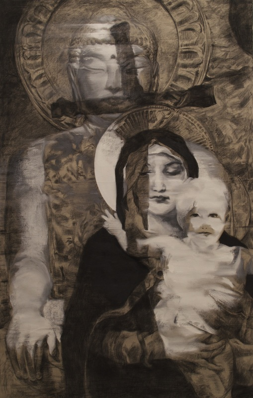 "Dear Religions in Korea: Buddhism, Protestantism, and Catholicism  (2014), Charcoal and oil on linen, 83"" x 53"" (6'92"" x 4'42"" / 210.82 x 134.62 cm), Private Collection"