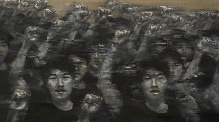 "Activist-Artist  (2015), Acrylic on linen, 44""x78"" (3'66""x6'5"" / 111.76 x 198.12 cm), Private collection"