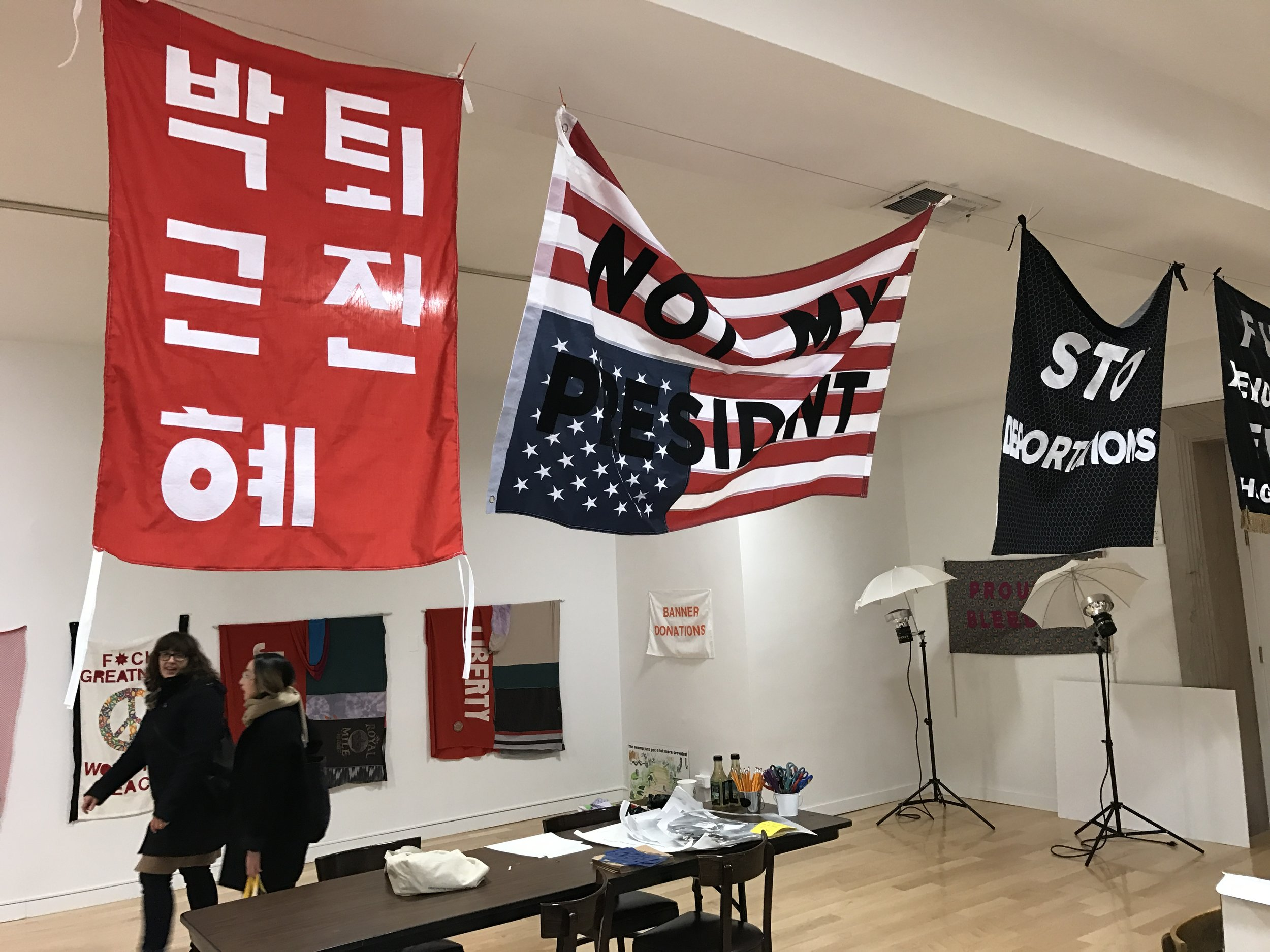 The  Oust Project  at  Aram Han Sifuentes's  Protest Banner Lending Library   in Chicago Cultural Center, March 2017.