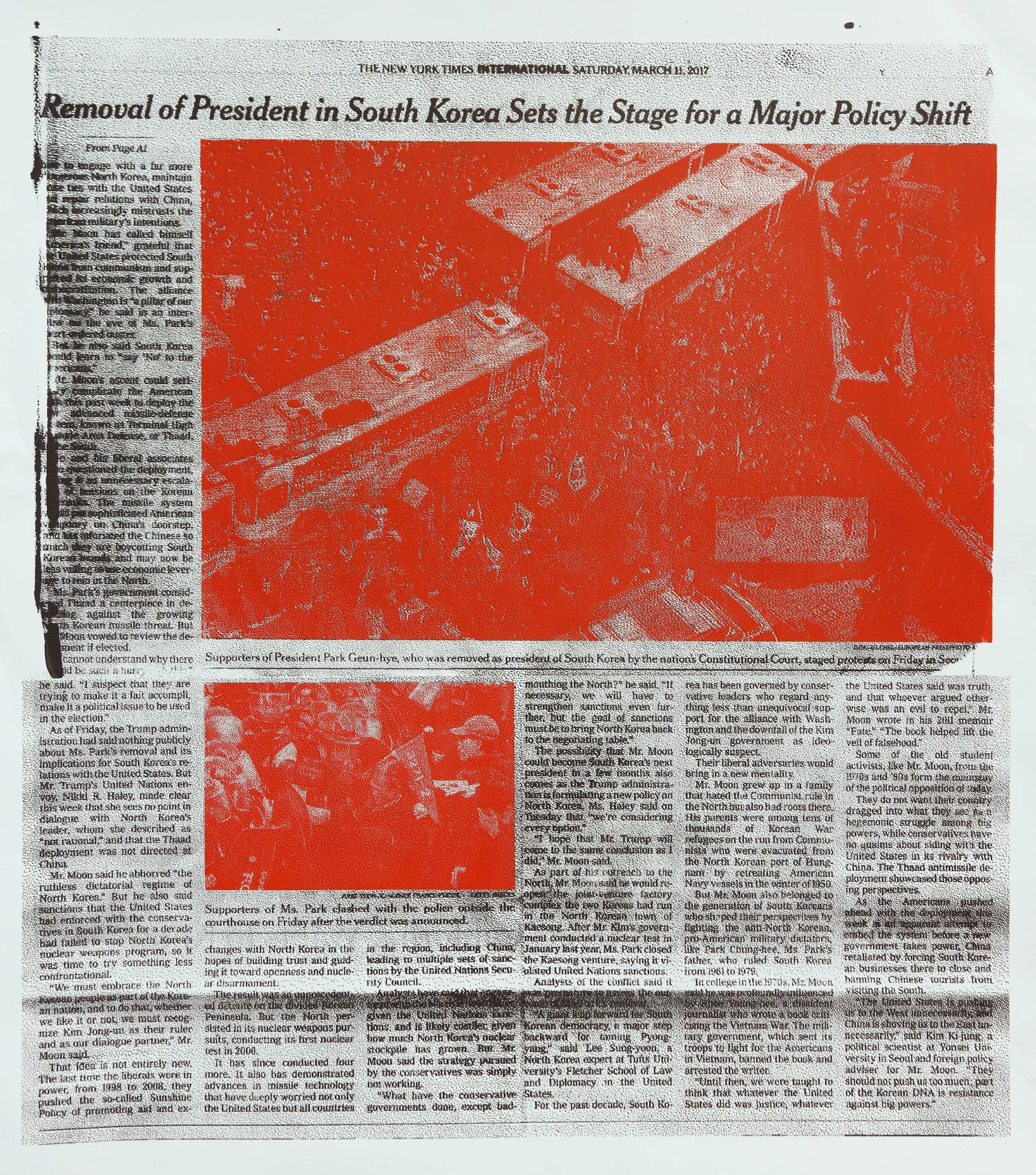 "The New York Times International Saturday, March 11, 2017  (2017), Screen print on paper, 38"" x 50"" (96.52 x 127 cm)"