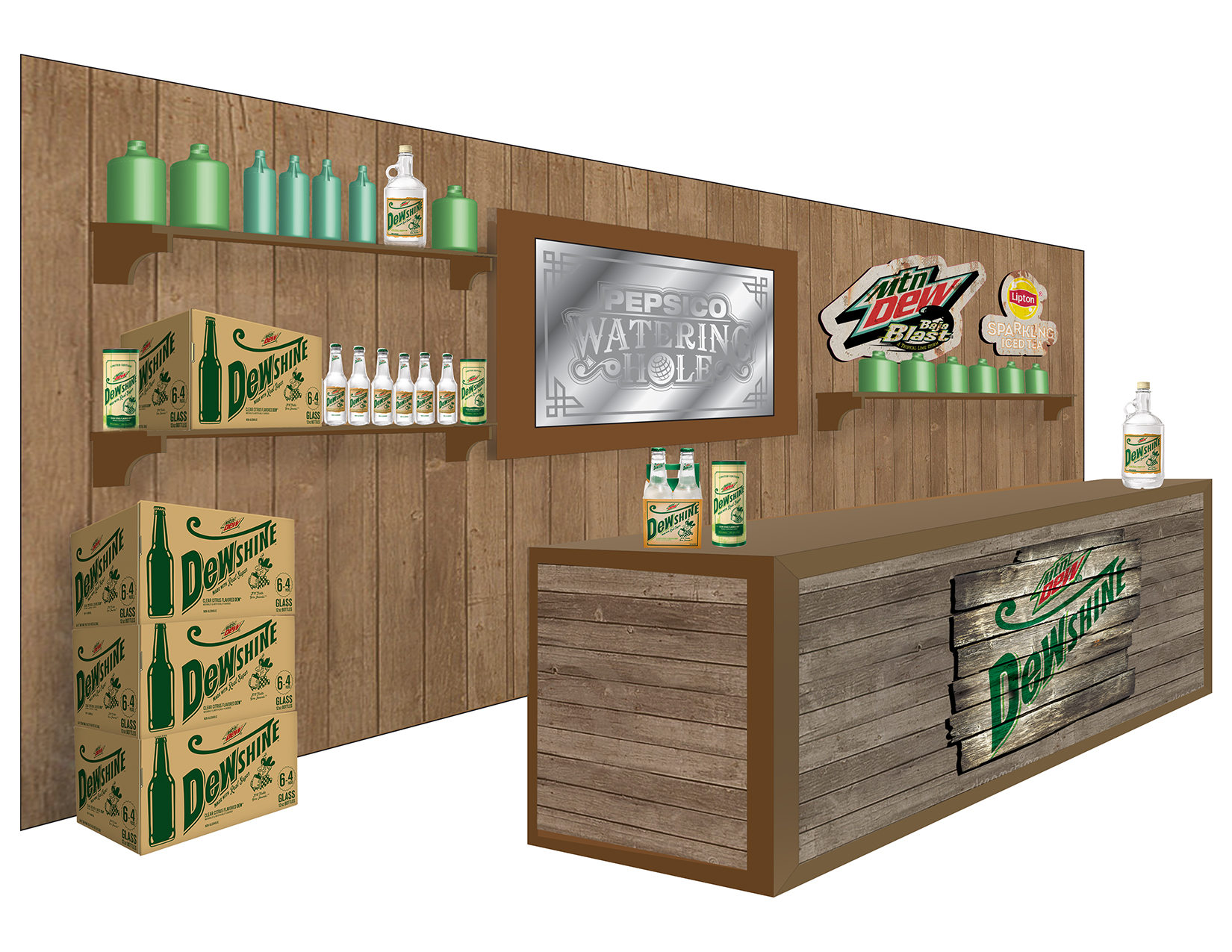 Watering Hole Interior Bar Rendering