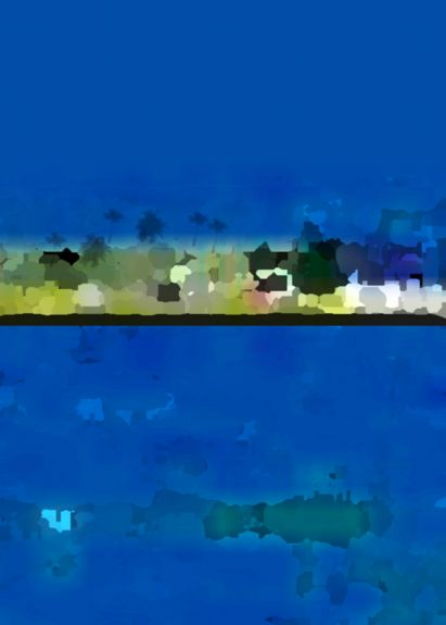 Paradise at Night , Patnem, Goa - Direct Crystal Print on Acrylic, White Box Framed 60x40cm (portrait) | Price £260 Framed Print run of 25 | Khaki, Acorn, Apple, Green, Lime, Dark Green, Black, Blue, Oxford, Zaffre.