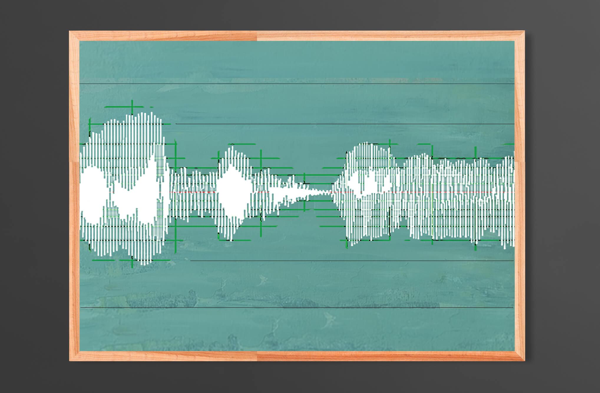In Conversation  - Soundwaves Direct Print on Wood Unframed 70x50cm (landscape) | Price £130 Unframed.  Air Force Blue, Blue Gum, White, Calke Green, Chasm.